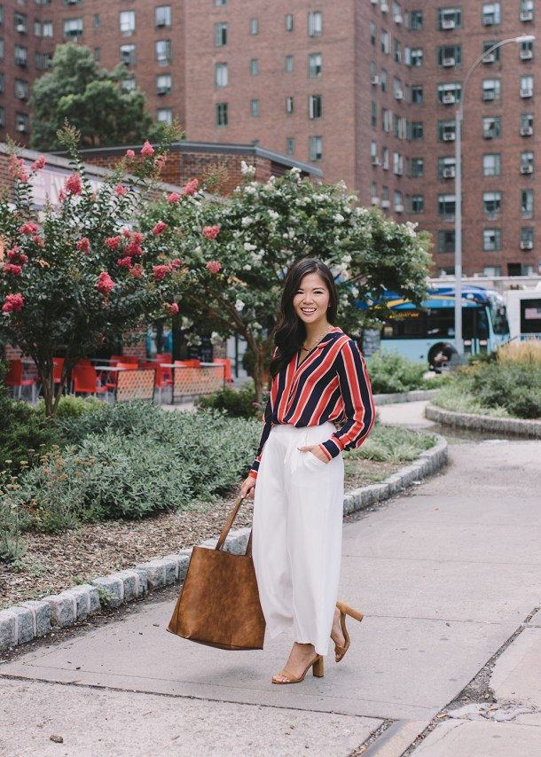 Office Style / Striped Blouse & White Culotte Pants