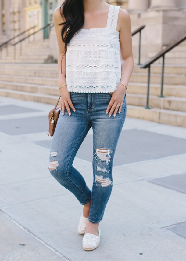 Summer Outfit / Eyelet Top & Ripped Jeans