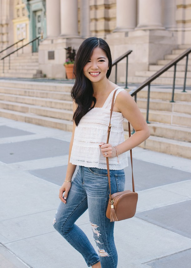Summer Outfit Ideas / White Top & Skinny Jeans