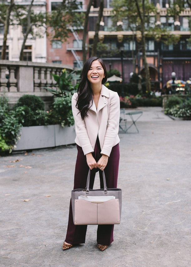 Fall Style / Burgundy Jumpsuit & Blush Moto Jacket