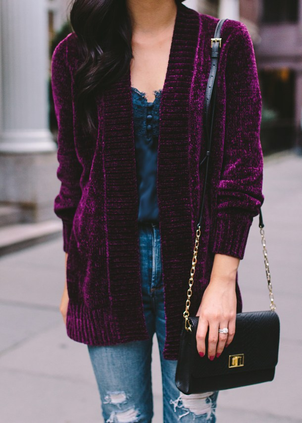 Fall Fashion Trends / Chenille Sweater & Navy Lace Cami