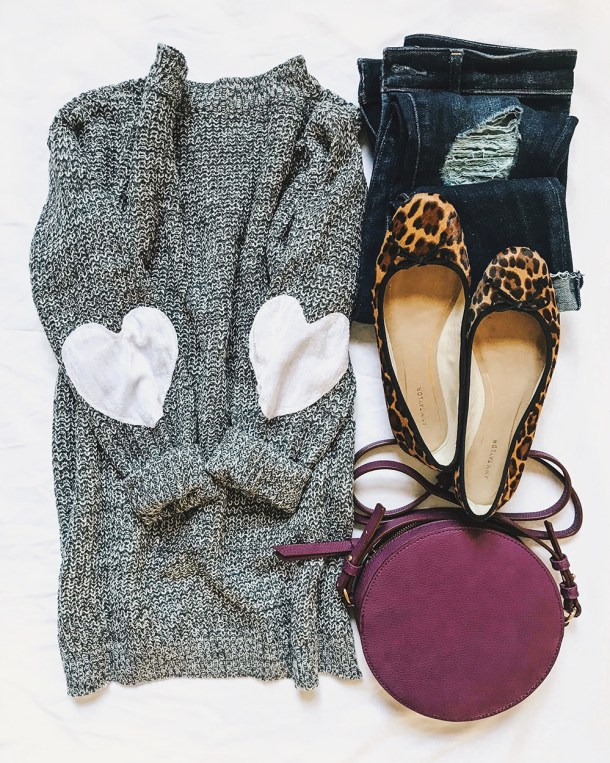 Heart Elbow Patch Sweater & Purple Circle Bag