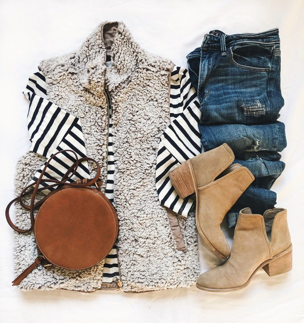 Fall Fashion Flatlay / Striped Shirt & Fuzzy Vest