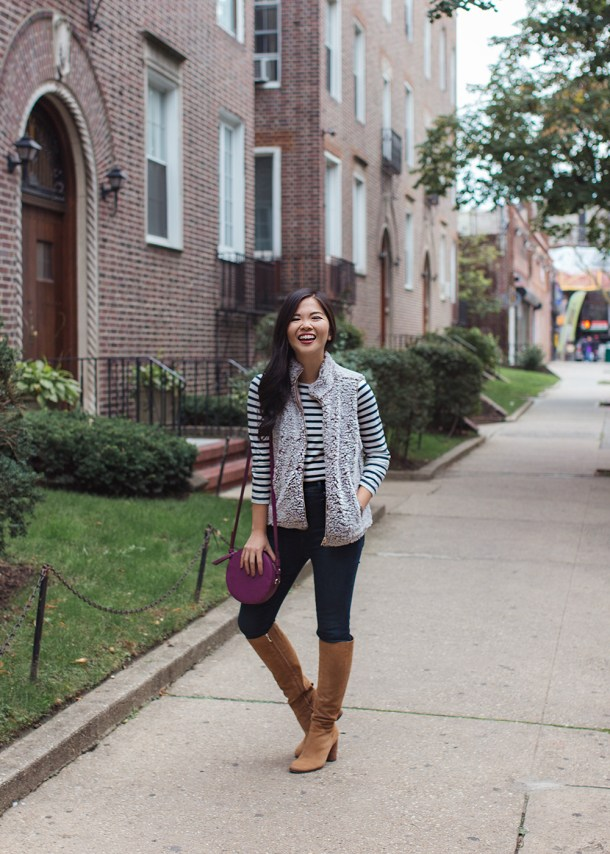 Fall Style Inspiration / Striped T-Shirt & Fleece Vest