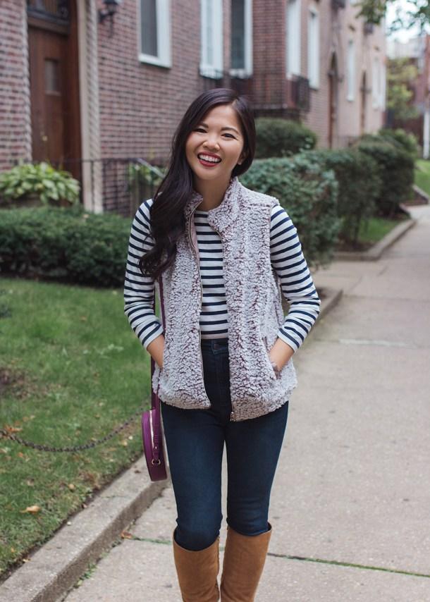 Fall Outfit Idea // Striped Long Sleeve T-Shirt & Fleece Vest
