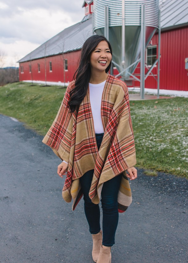 Fall Style Inspiration / Red & Camel Plaid Cape