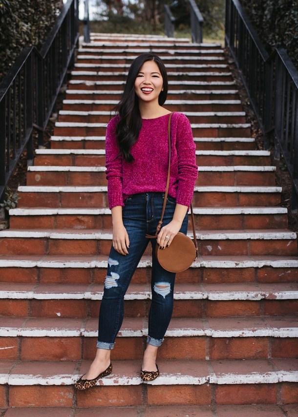 Fuschia Chenille Sweater & Ripped Jeans