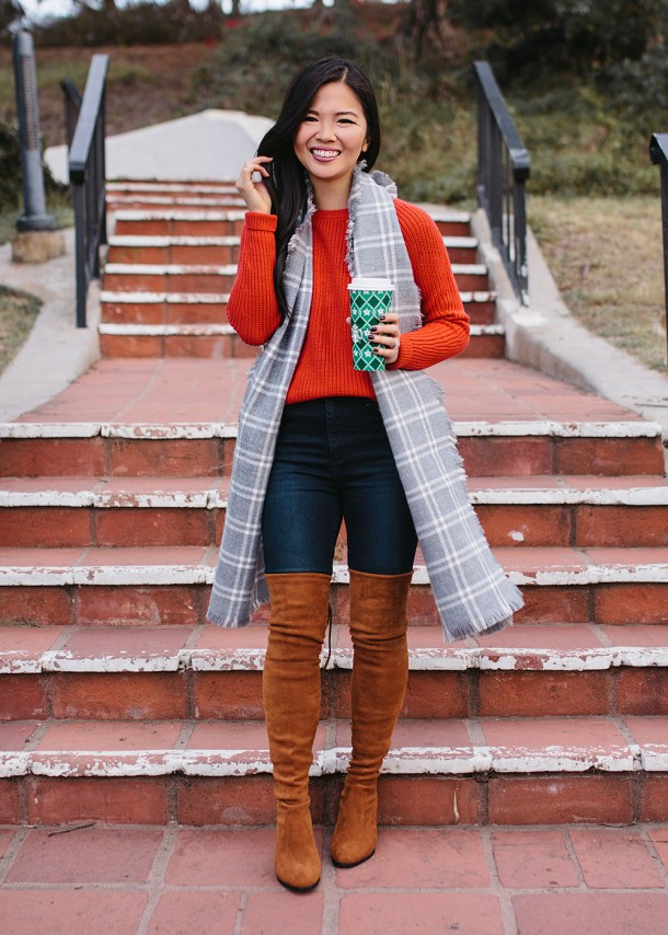 Casual Holiday Outfit / Red Sweater & Plaid Scarf
