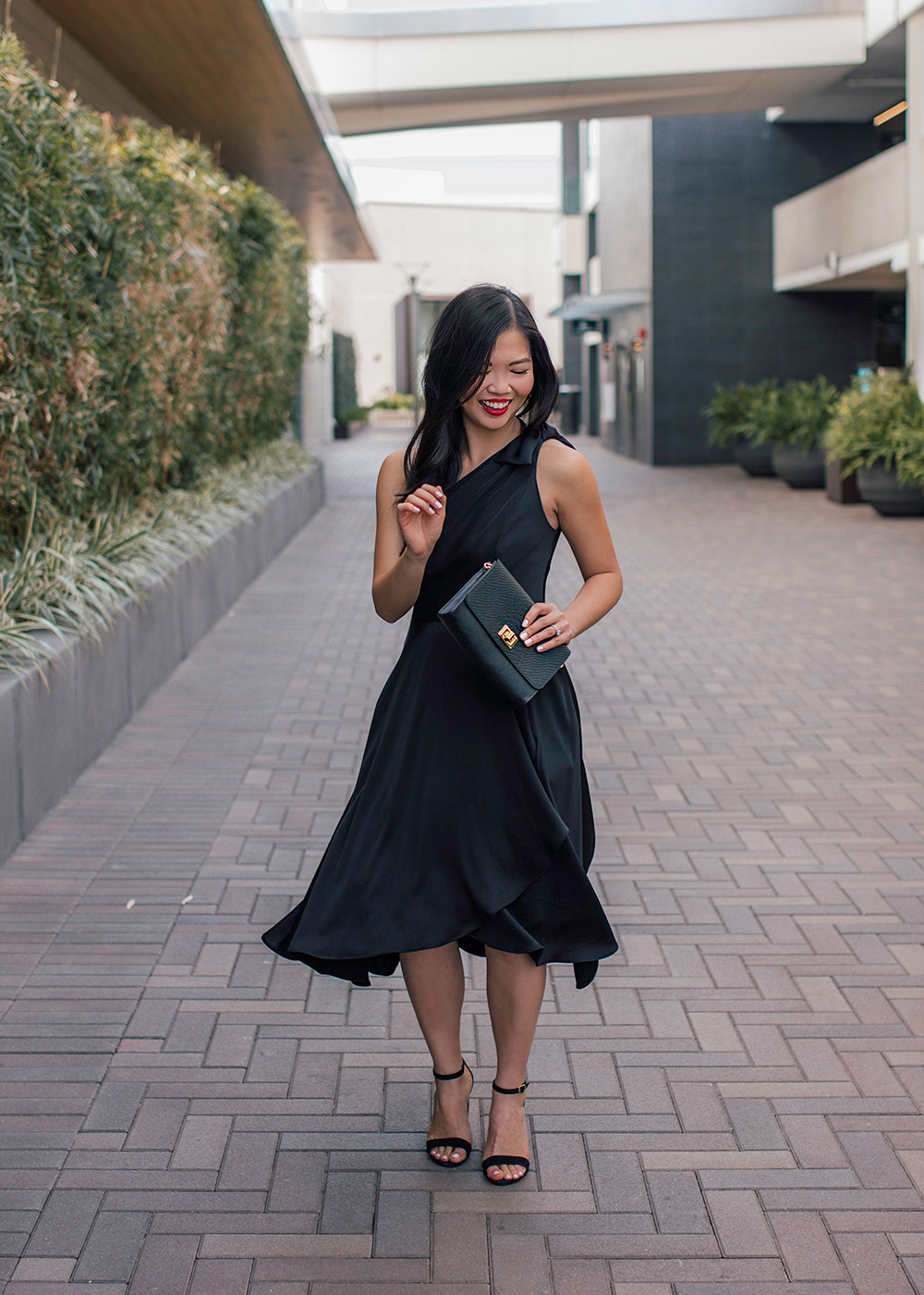 One Shoulder Black Midi Dress with Pockets