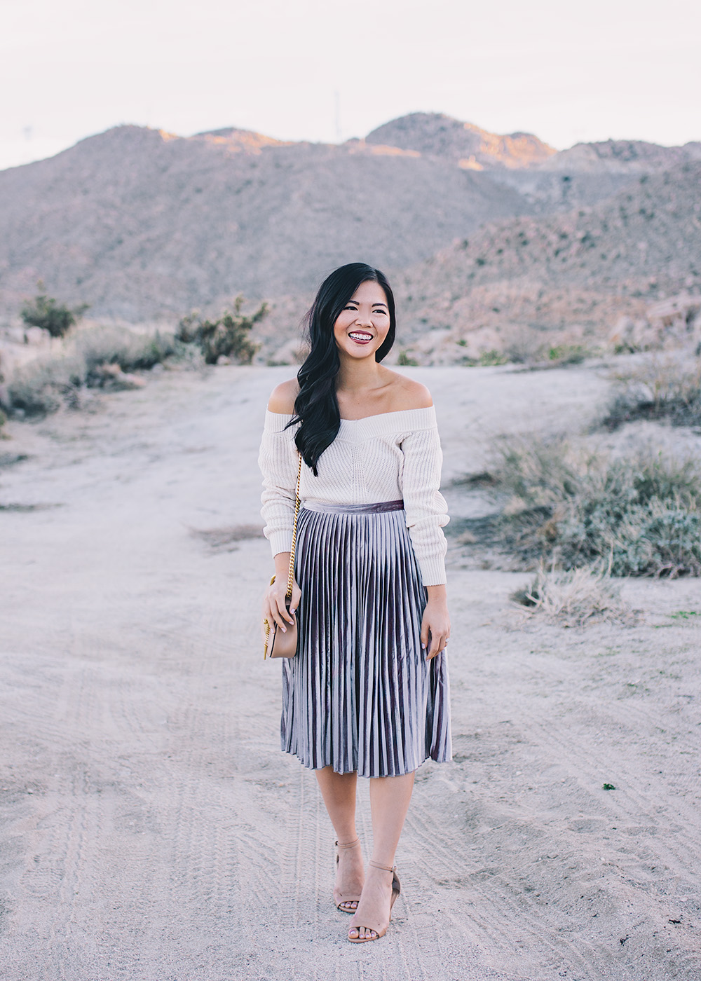 What to Wear with a Velvet Pleated Skirt