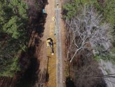 Aerial of line installation