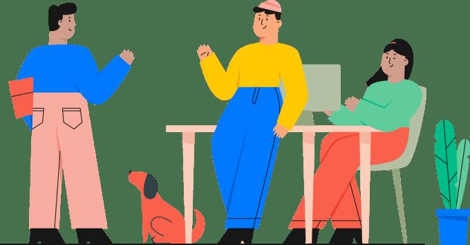 Ilustracja przedstawiająca trójkę wesołych pracowników przy biurku