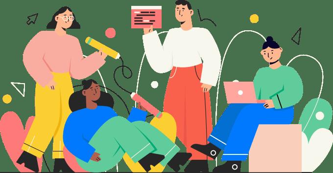 ilustracja czterech osób pracujących w coworkingu