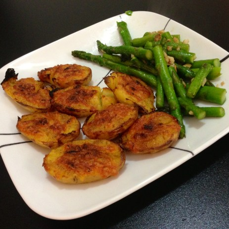 Delicious Lowry's seasoned potatoes and asparagus.