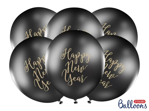 BALON HAPPY NEW YEAR CZARNY 30 CM 3