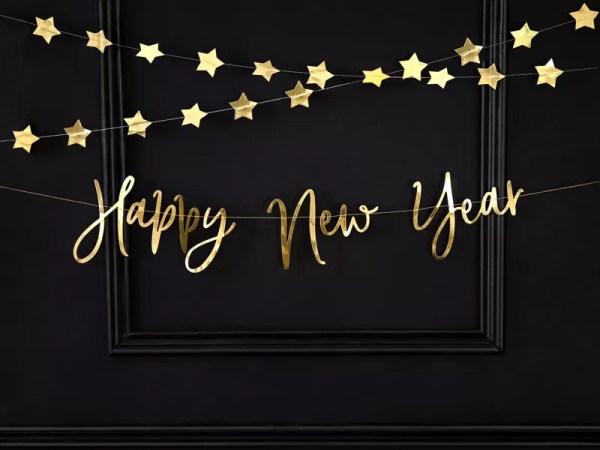 BANER HAPPY NEW YEAR ZŁOTY 66 CM 2