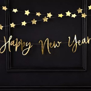 BANER HAPPY NEW YEAR ZŁOTY 66 CM