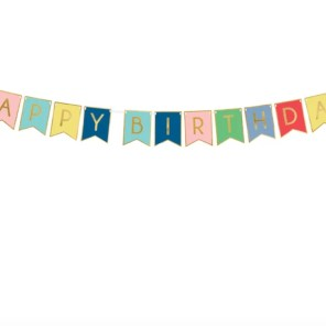 BANER HAPPY BIRTHDAY RÓŻOWY KOLOROWY