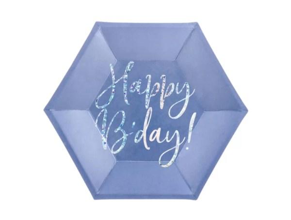 TALERZYKI NIEBIESKIE HAPPY BIRTHDAY 2