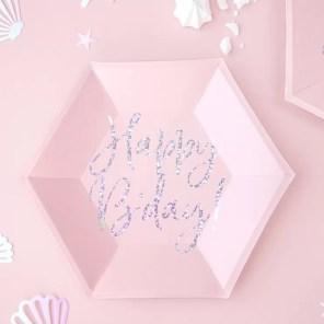 TALERZYKI RÓŻOWE HAPPY BIRTHDAY