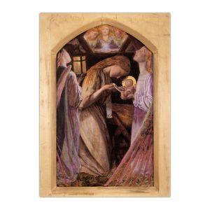 Kartka bożonarodzeniowa – Arthur Hughes, Narodzenie, 1862