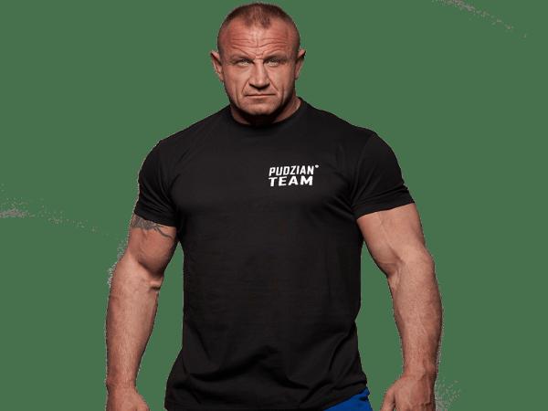 Czarna koszulka Pudzian Team przód