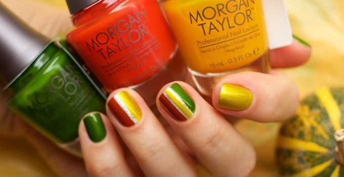 Morgan Taylor Chrome Collection Chrome Base, Ivy Appliqué, AmberRushAppliqué, Sunset Yellow Appliqué swatches by Ann Sokolova