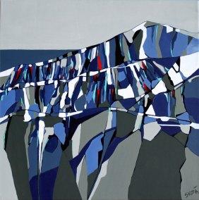 Abstrakt maleri af bjerge