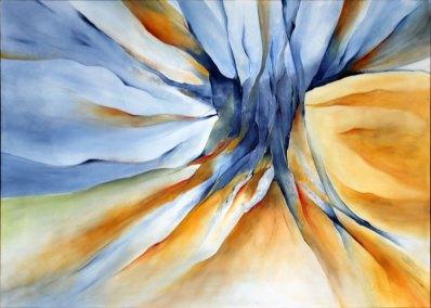 Abstrakt maleri af den kraft der udspringer af stridende kræfter
