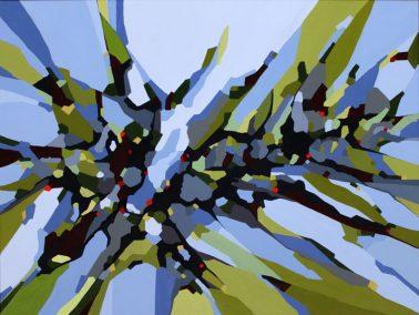 Abstrakt maleri. Billedkunst. En tur i skoven