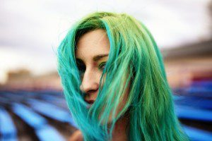 40376427 - portrait beautiful young girl with green hair
