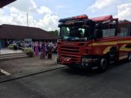 Latihan Kebakaran : Ketibaan jentera bomba