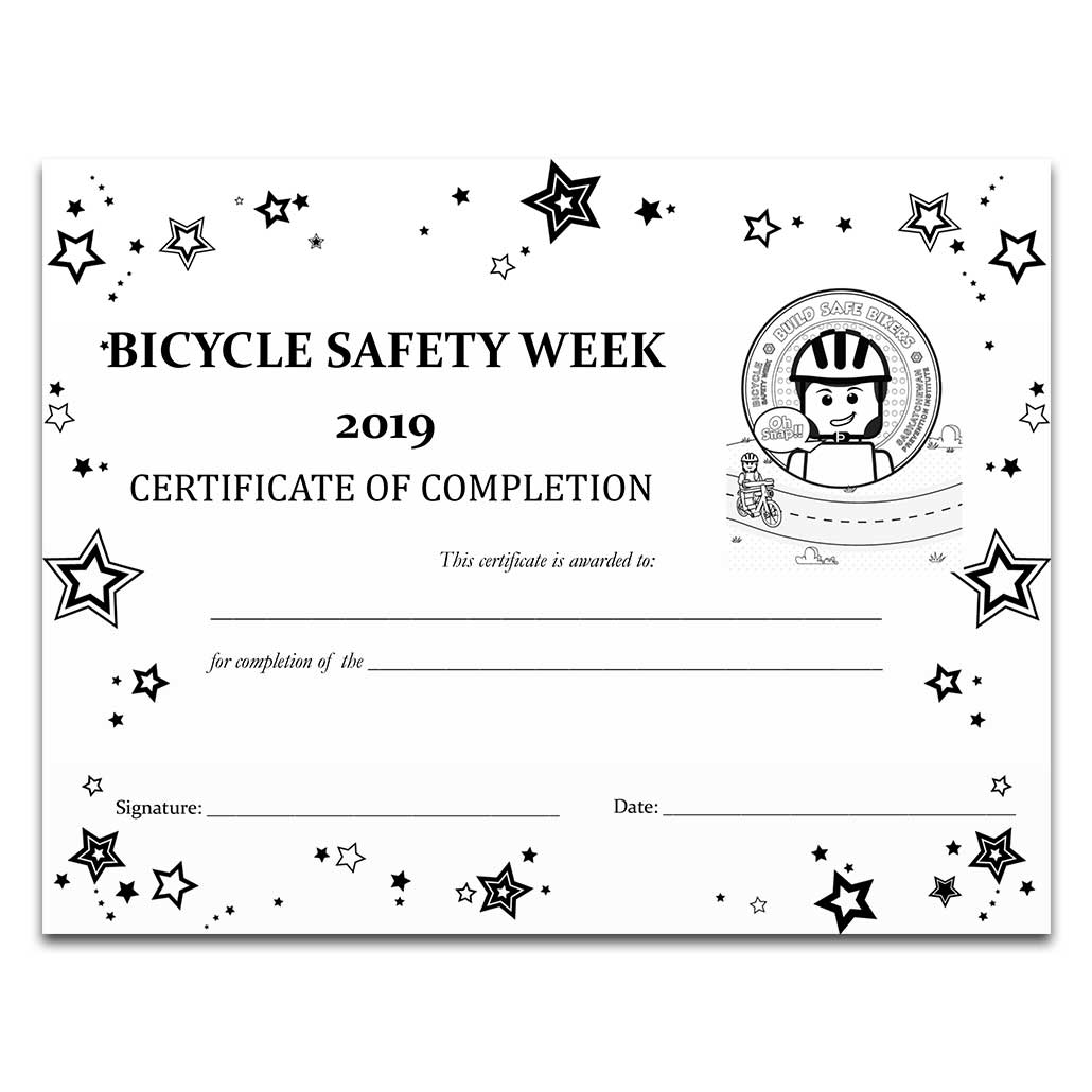 Bicycle Safety Week 2019 Certificate