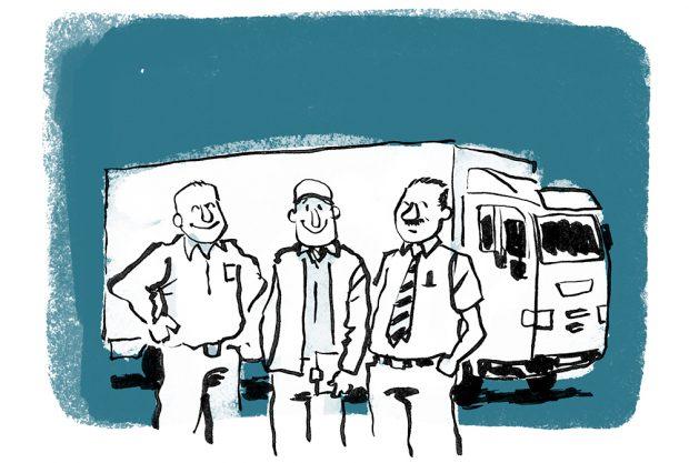 medarbejder lastbil catering tegning tegner