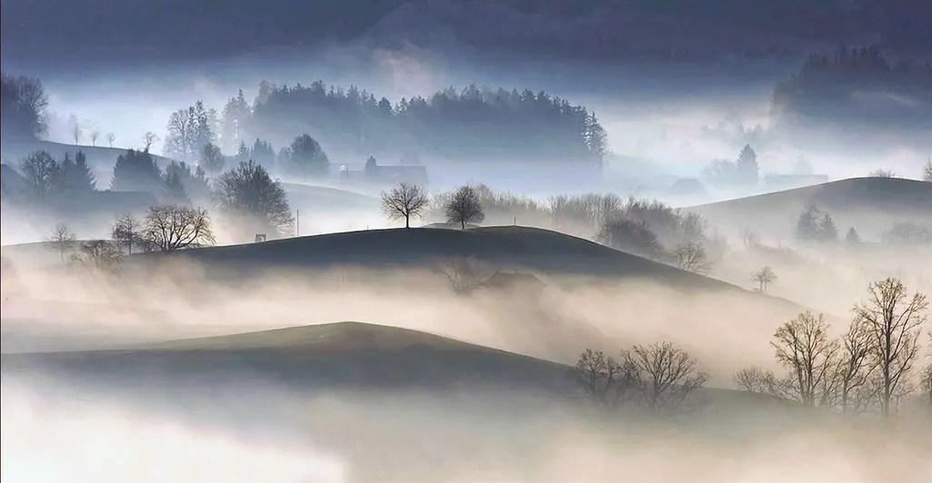 Beskriv en dimmig miljö