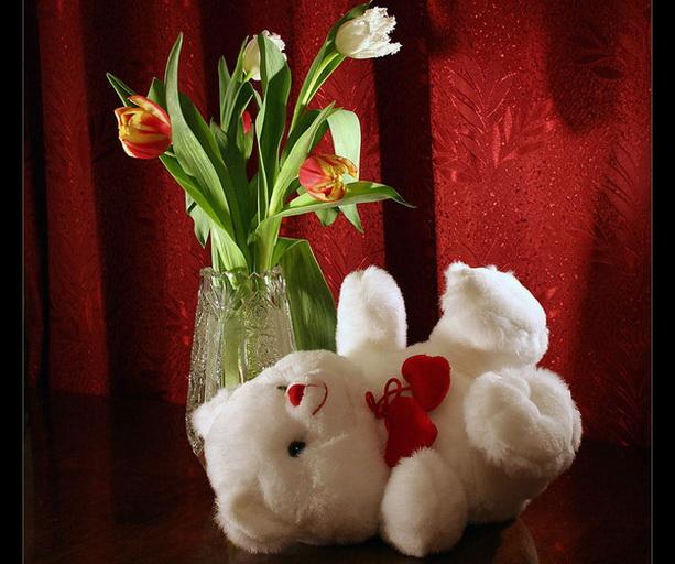 8 марта медвежонок цветы