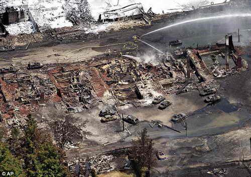 Последствия взрыва состава с нефтью