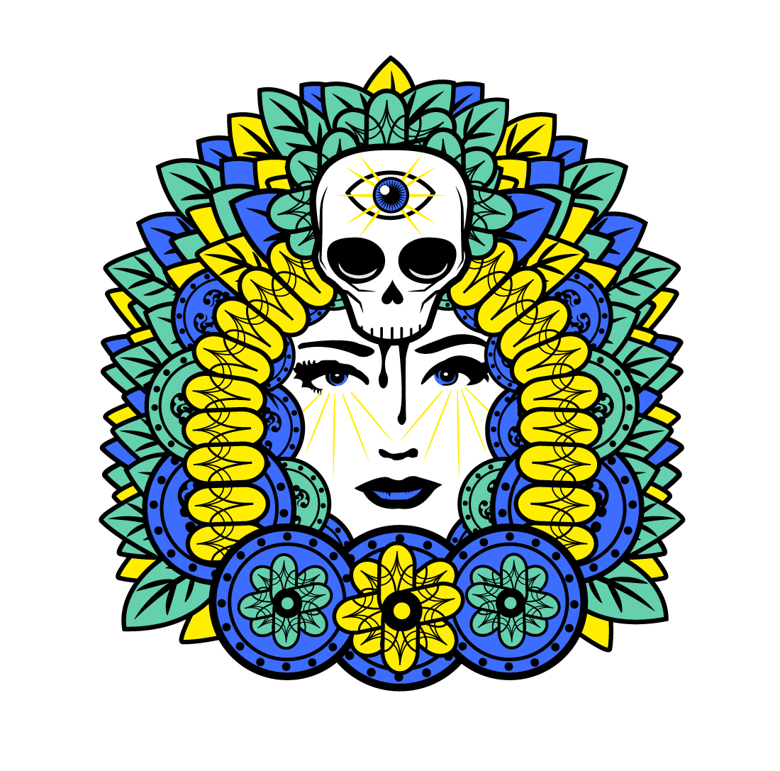 Vector art, skull with third eye by Skulture