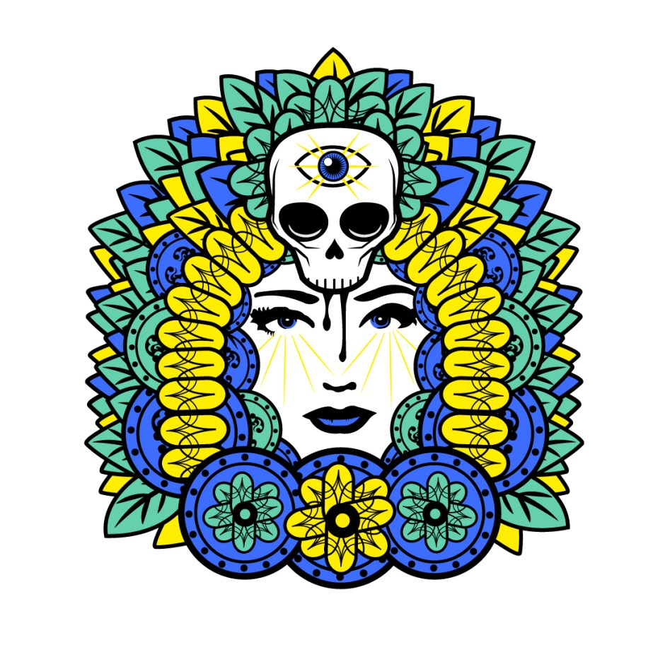 Skull with third eye over face of girl surrounded by flowers