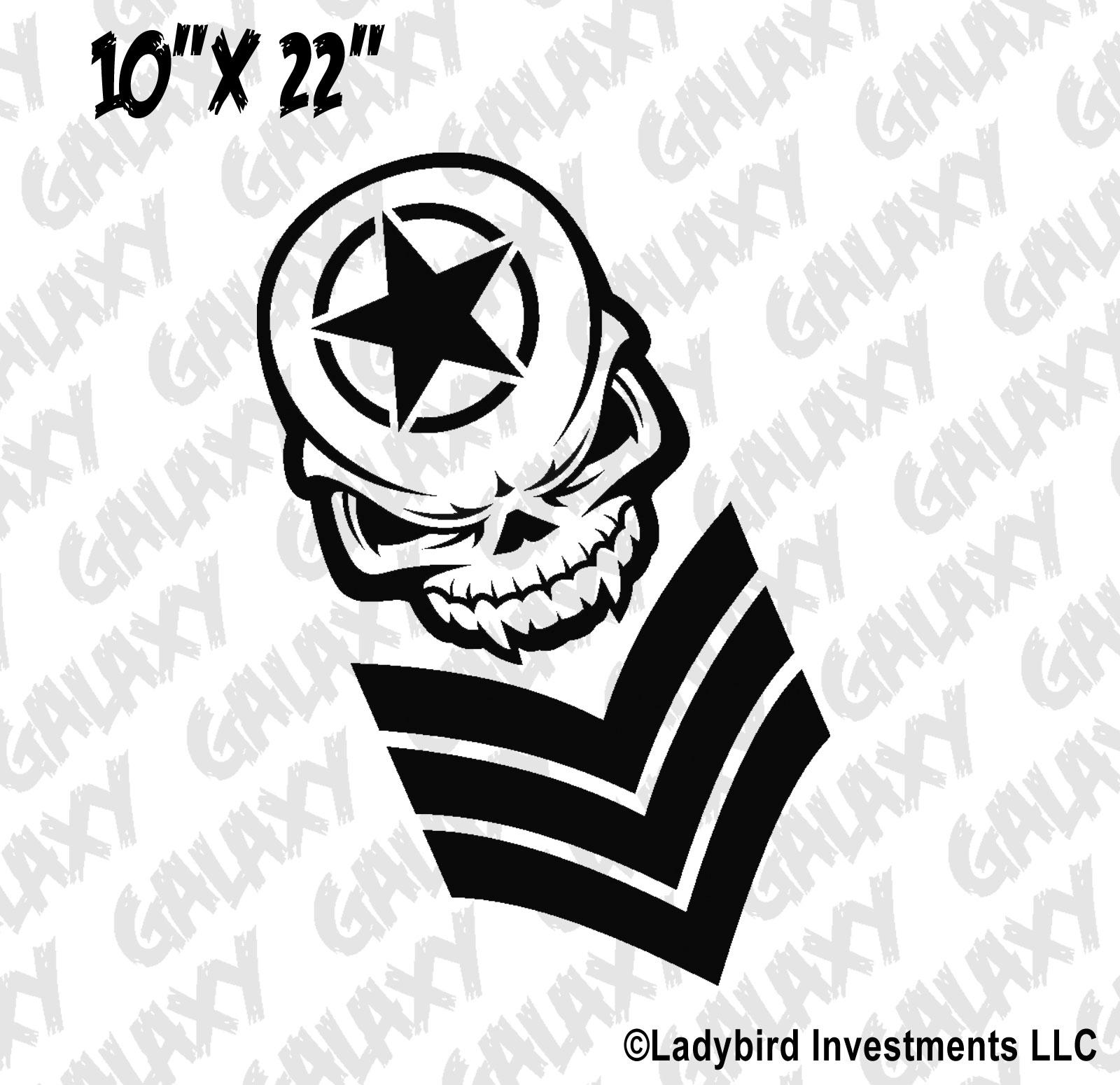 Jeep Wrangler Hood Decal Skull Army Star Chevrons Sticker