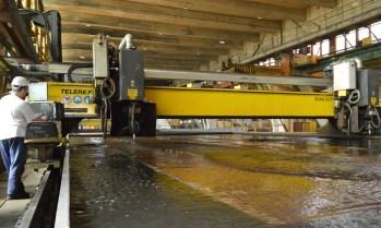 Početak obrade čelika za Nov. 484 na plazma stroju za obiljezavanje i rezanje limova pod vodom CNC ESAB Telerex TXB 9200