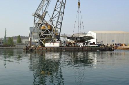 Ukrcajem na plovnu dizalicu Marjanka iz Brodosplita je 17. travnja 2018. krenula isporuka i transport prvih čeličnih rasponskih segmenata mosta Čiovo koji su u cijelosti izgrađeni u splitskom škveru.