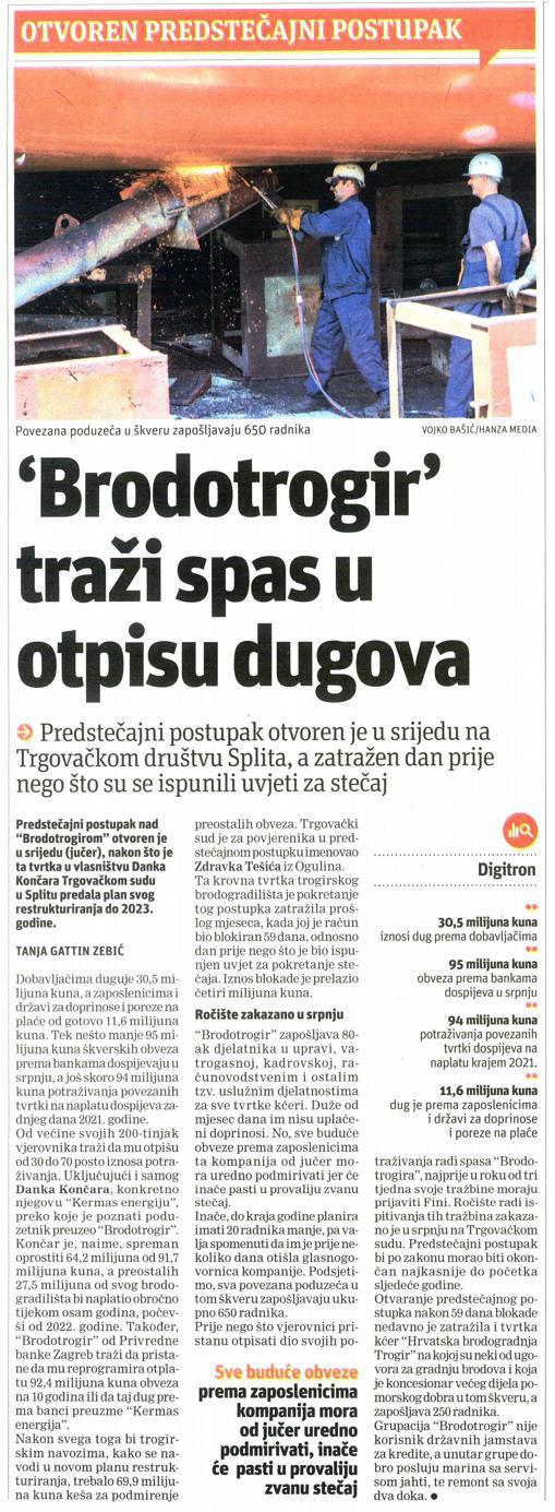 Brodotrogir traži spas u otpisu dugova - Slobodna Dalmacija, 4.4.2019.