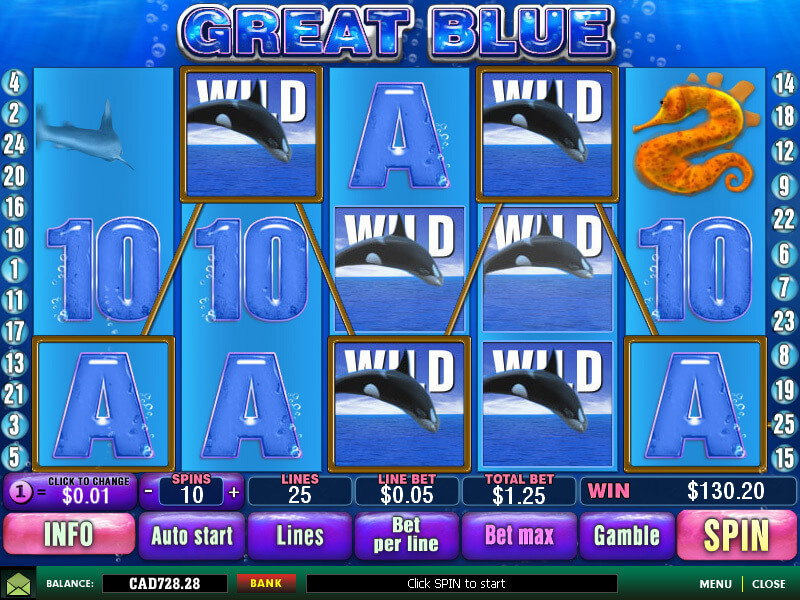 Do you like to spend some time among sea creatures?Then dive into the sea by playing free Great Blue slot.Playtech has developed this casino slot game that runs on 5 reels, while you can select up to 25 paylines to raise your stake.Grab the excitement when you trigger free spins and win some lucrative prizes.
