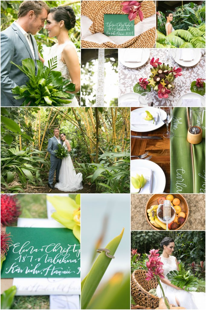 Haiku garden wedding destination photography collage