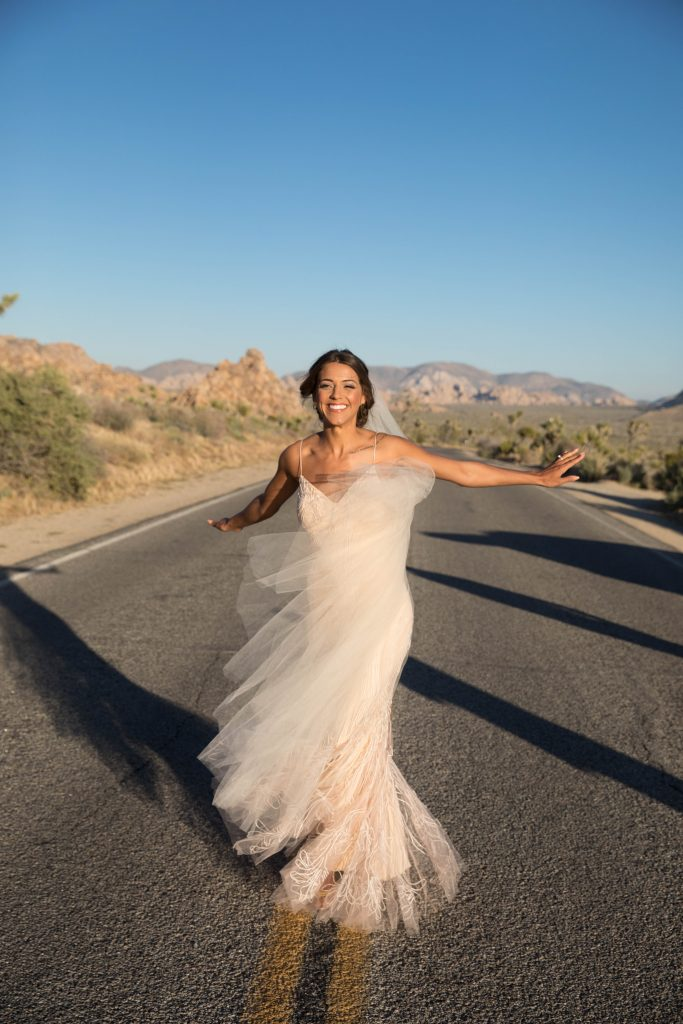 bride dancing on wedding day joshua tree