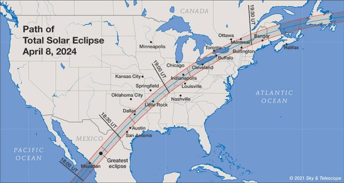 Cities along totality