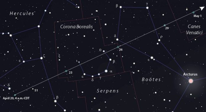 Comet ATLAS finder chart April 20 to May 1
