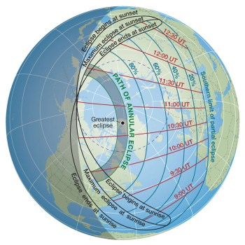 Annular solar eclipse path on June 10, 2021