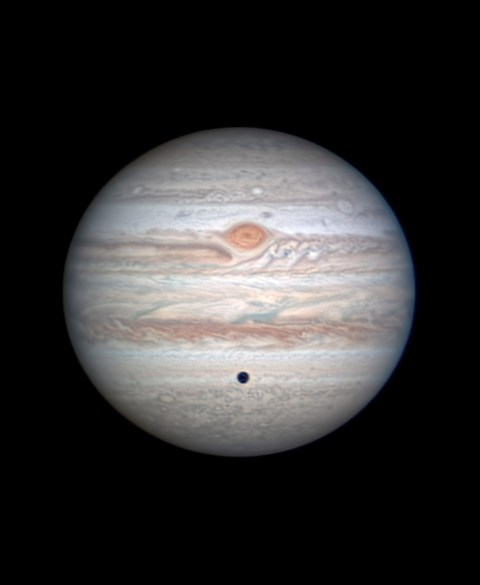 Jupiter with Great Red Spot near the central meridian and Callisto in transit, June 22, 2020